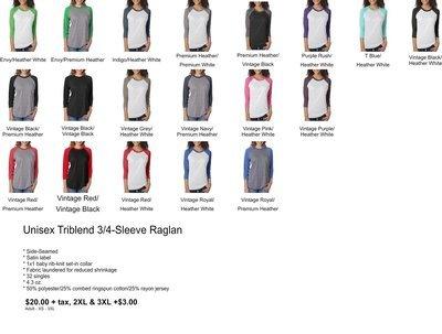 Unisex Triblend 3/4 Sleeve Raglan
