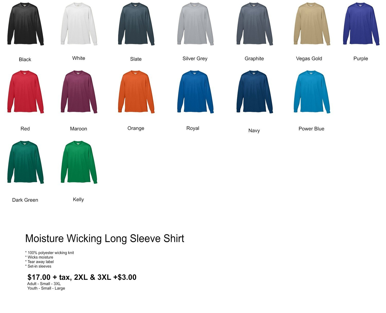 Moisture Wicking Long Sleeve Shirt