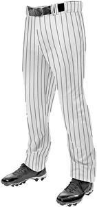 Champro Triple Crown Classic Baseball Pants with Pinstripes - Open Bottom - White with Black Pinstripe