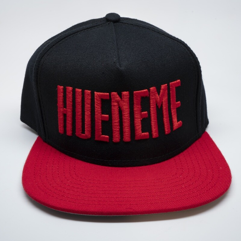 Hueneme Red and Black Block Snapback Hat