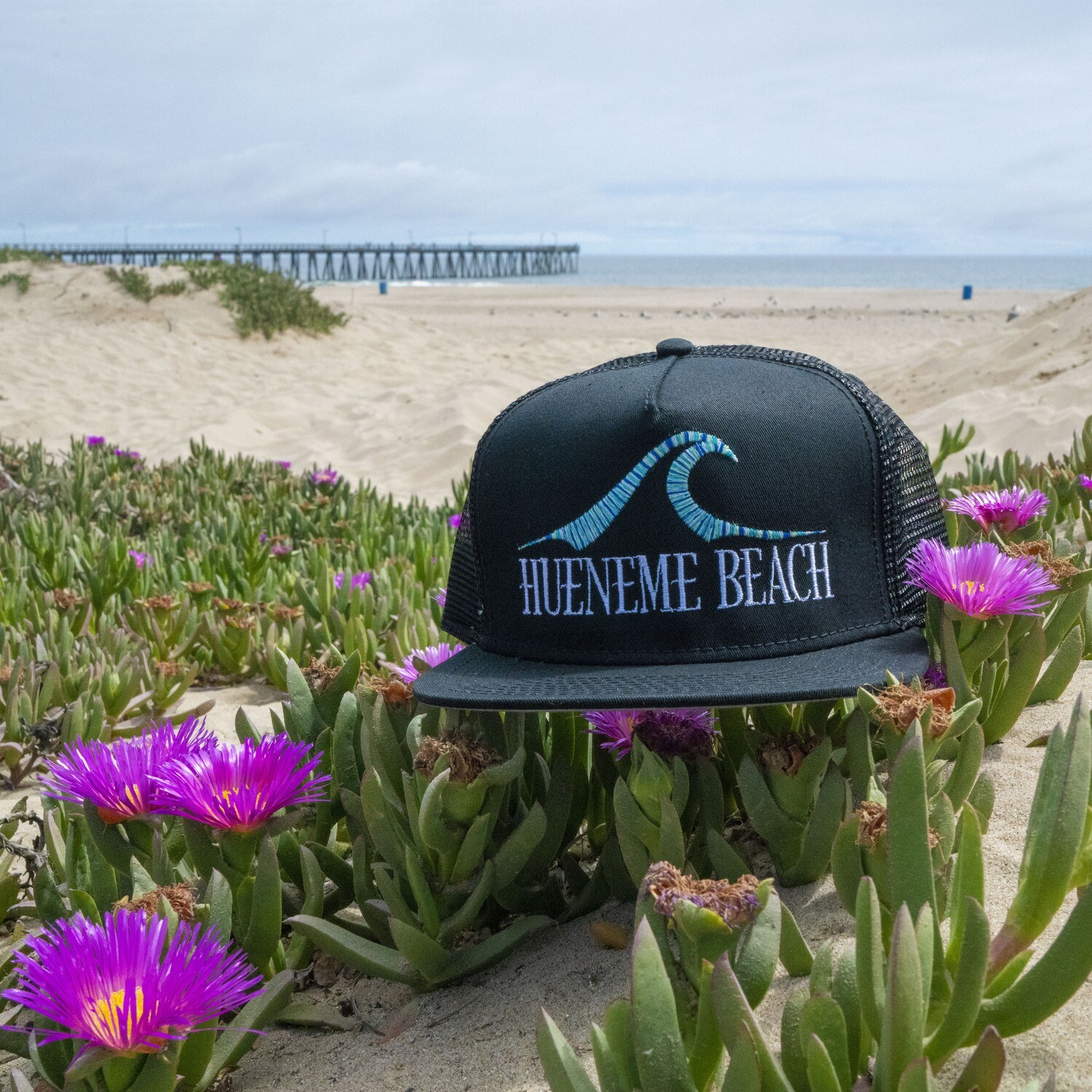 Hueneme Beach - Black Trucker Hat Multicolor Thread