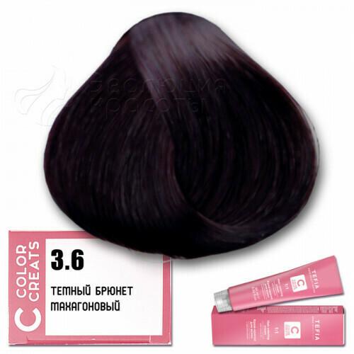 TEFIA - 3-6 Краска для волос Color Creats ТЕМНЫЙ БРЮНЕТ МАХАГОНОВЫЙ, 60мл