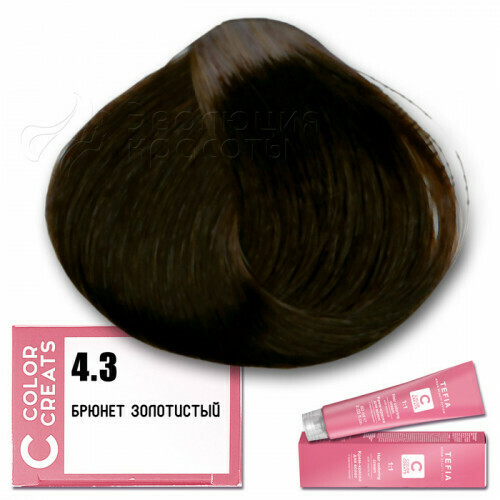 TEFIA - 4-3 Краска для волос Color Creats БРЮНЕТ ЗОЛОТИСТЫЙ, 60мл