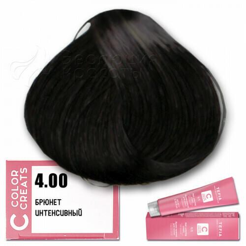 TEFIA - 4-00 Краска для волос Color Creats БРЮНЕТ ИНТЕНСИВНЫЙ, 60мл