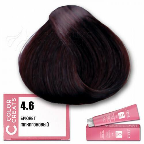 TEFIA - 4-6 Краска для волос Color Creats БРЮНЕТ МАХАГОНОВЫЙ, 60мл