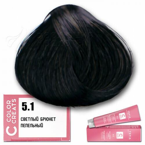 TEFIA - 5-1 Краска для волос Color Creats СВЕТЛЫЙ БРЮНЕТ ПЕПЕЛЬНЫЙ, 60мл
