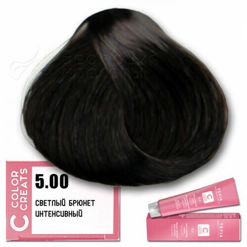 TEFIA - 5-00 Краска для волос Color Creats СВЕТЛЫЙ БРЮНЕТ ИНТЕНСИВНЫЙ, 60мл