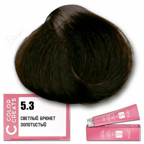 TEFIA - 5-3 Краска для волос Color Creats СВЕТЛЫЙ БРЮНЕТ ЗОЛОТИСТЫЙ, 60мл