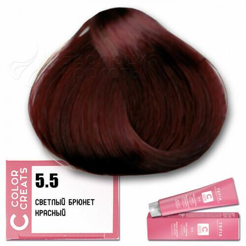 TEFIA - 5-5 Краска для волос Color Creats СВЕТЛЫЙ БРЮНЕТ КРАСНЫЙ, 60мл