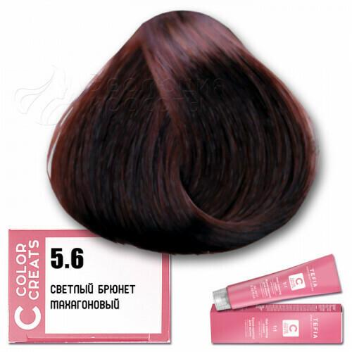 TEFIA - 5-6 Краска для волос Color Creats СВЕТЛЫЙ БРЮНЕТ МАХАГОНОВЫЙ, 60мл