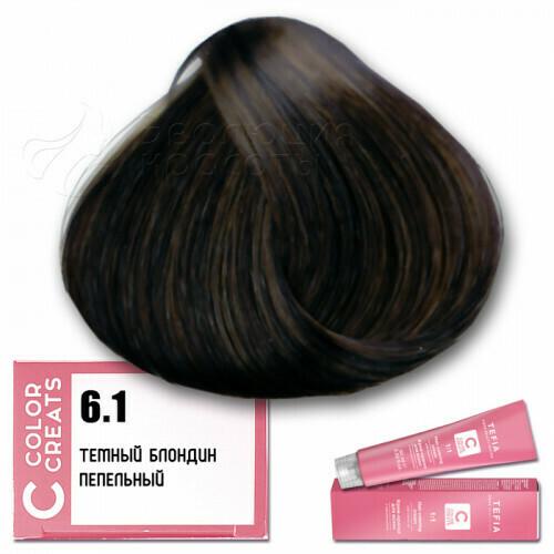 TEFIA - 6-1 Краска для волос Color Creats ТЕМНЫЙ БЛОНДИН ПЕПЕЛЬНЫЙ, 60мл
