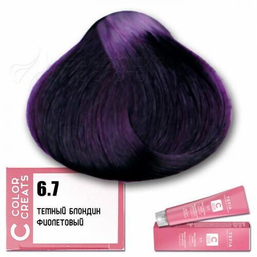 TEFIA - 6-7 Краска для волос Color Creats ТЕМНЫЙ БЛОНДИН ФИОЛЕТОВЫЙ, 60мл