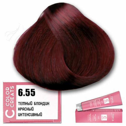 TEFIA - 6-55 Краска для волос Color Creats ТЕМНЫЙ БЛОНДИН КРАСНЫЙ ИНТЕНСИВНЫЙ, 60мл