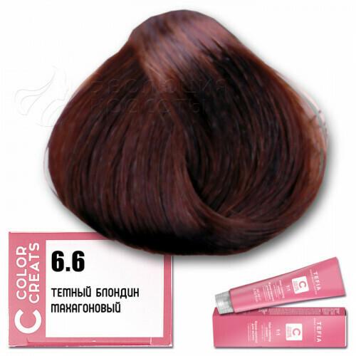 TEFIA - 6-6 Краска для волос Color Creats ТЕМНЫЙ БЛОНДИН МАХАГОНОВЫЙ, 60мл