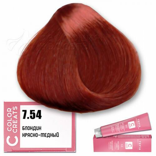 TEFIA - 7-54 Краска для волос Color Creats БЛОНДИН КРАСНО-МЕДНЫЙ, 60мл