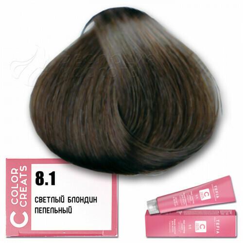 TEFIA - 8-1 Краска для волос Color Creats СВЕТЛЫЙ БЛОНДИН ПЕПЕЛЬНЫЙ, 60мл