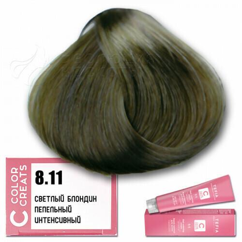 TEFIA - 8-11 Краска для волос Color Creats СВЕТЛЫЙ БЛОНДИН ПЕПЕЛЬНЫЙ ИНТЕНСИВНЫЙ, 60мл