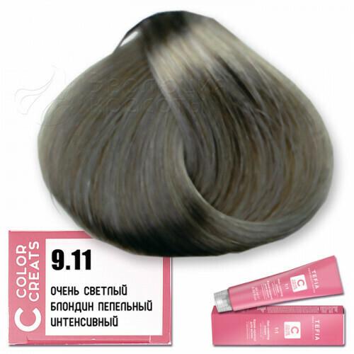 TEFIA - 9-11 Краска для волос Color Creats ОЧЕНЬ СВЕТЛЫЙ БЛОНДИН ПЕПЕЛЬНЫЙ ИНТЕНСИВНЫЙ, 60мл
