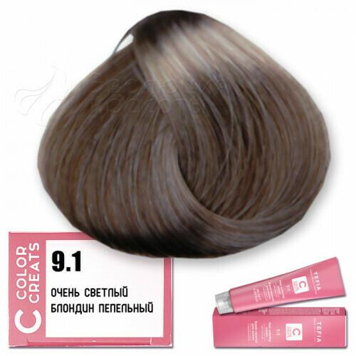 TEFIA - 9-1 Краска для волос Color Creats ОЧЕНЬ СВЕТЛЫЙ БЛОНДИН ПЕПЕЛЬНЫЙ, 60мл