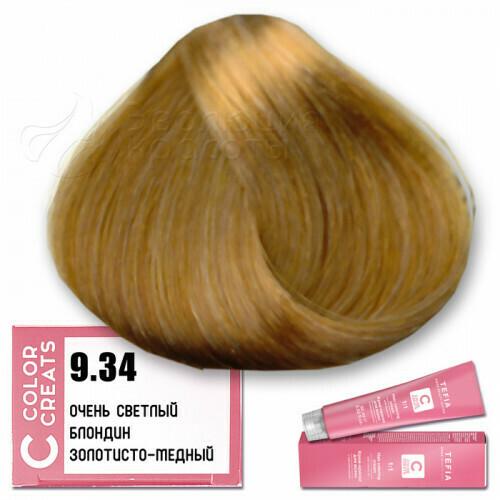 TEFIA - 9-34 Краска для волос Color Creats ОЧЕНЬ СВЕТЛЫЙ БЛОНДИН ЗОЛОТИСТО-МЕДНЫЙ, 60мл