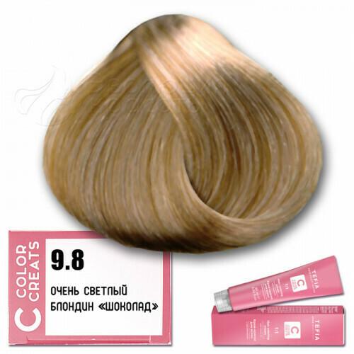 TEFIA - 9-8 Краска для волос Color Creats ОЧЕНЬ СВЕТЛЫЙ БЛОНДИН ШОКОЛАД, 60мл