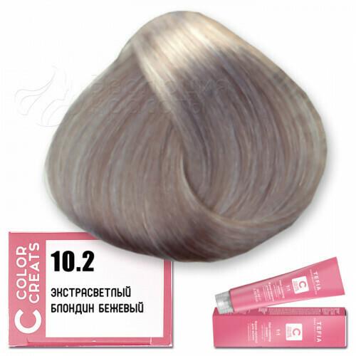 TEFIA - 10-2 Краска для волос Color Creats ЭКСТРА СВЕТЛЫЙ БЛОНДИН БЕЖЕВЫЙ, 60мл