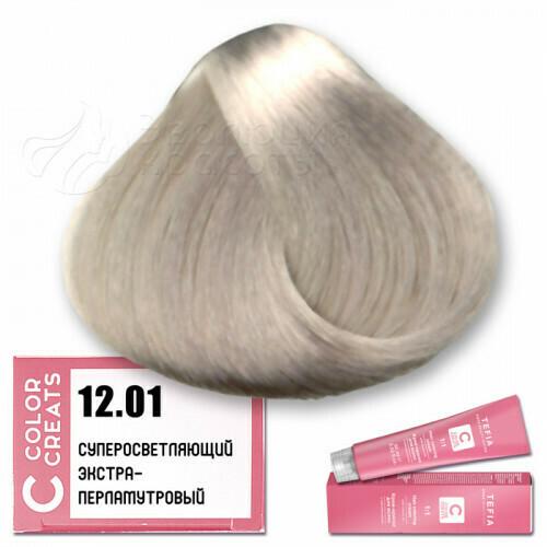 TEFIA - 12-01 Краска для волос Color Creats СУПЕРОСВЕТЛЯЮЩИЙ ЭКСТРА ПЛАТИНОВЫЙ, 60мл