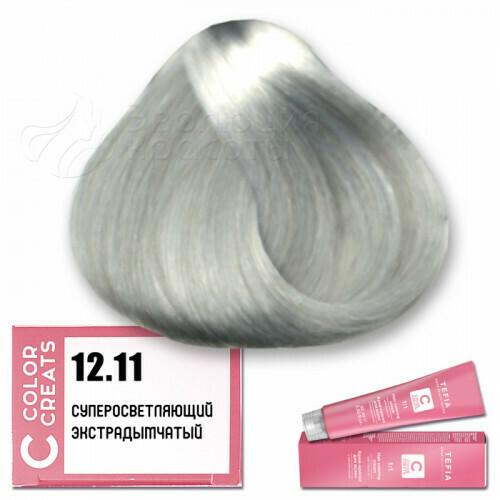 TEFIA - 12-11 Краска для волос Color Creats СУПЕРОСВЕТЛЯЮЩИЙ ЭКСТРА ДЫМЧАТЫЙ, 60мл