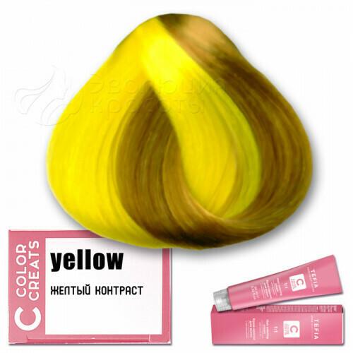 TEFIA - Краска для волос Контраст ЖЕЛТЫЙ Color Creats, 60мл