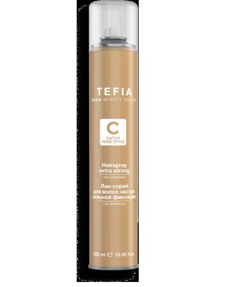 TEFIA - Лак-спрей для волос экстра сильной фиксации,Д-пантенолом CATCH YOUR SRYLE, 500мл