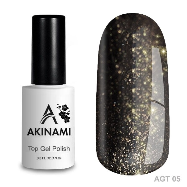 Akinami Топ для гель-лака Glitter Top 5, 9мл