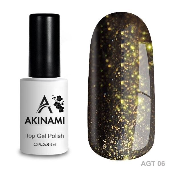 Akinami Топ для гель-лака Glitter Top 6, 9мл
