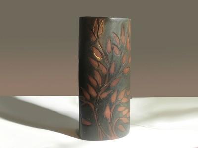 Vintage Andersen Design Vase in Red Leaf on Ebony Glaze Pattern