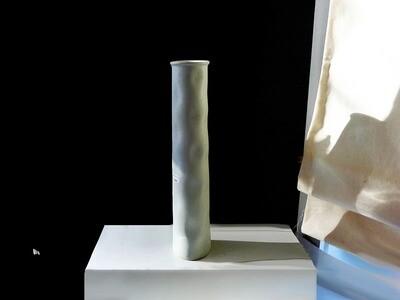 Tall Modulus Column Vase in White, Vintage
