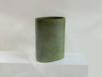 Oval Cylinder Vase #48 , Vintage in Moss Green Glaze