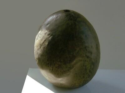 Vintage Flat Stone Vase in Brown