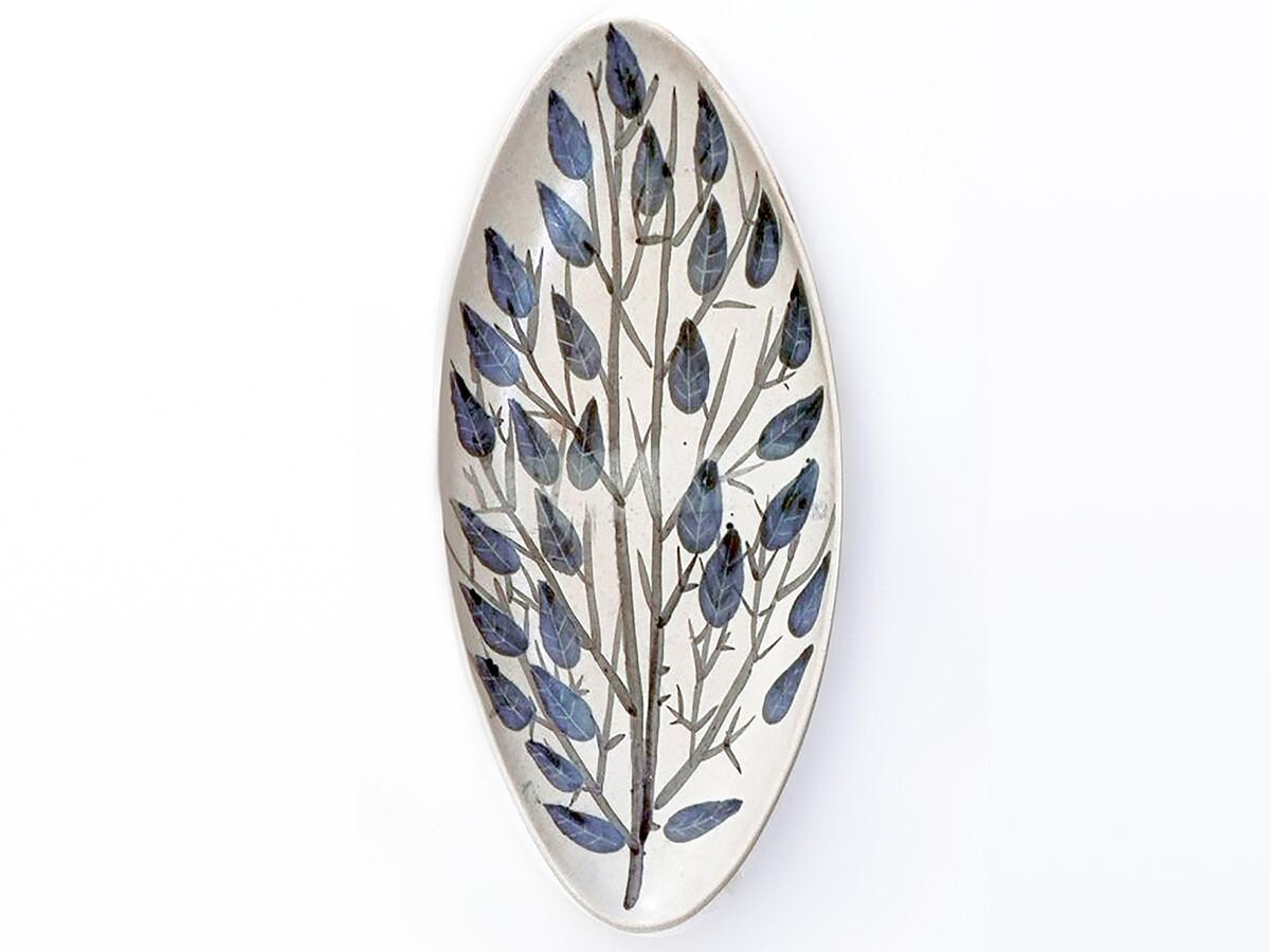 One of a Kind Vintage Blue Leaf Tree Platter by Brenda