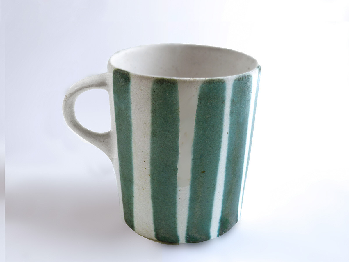 Vintage Prototype of Straight Mug in Green Stripes