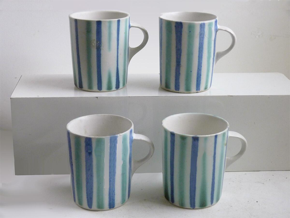 Vintage Prototype of Straight Mug in Blue Stripes