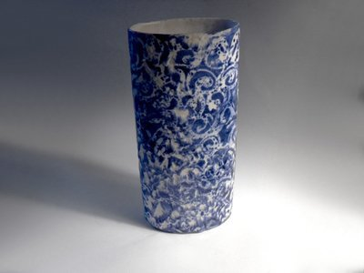 Blue & White Textured Spirals Tall Cylinder Vase By Mackenzie Andersen