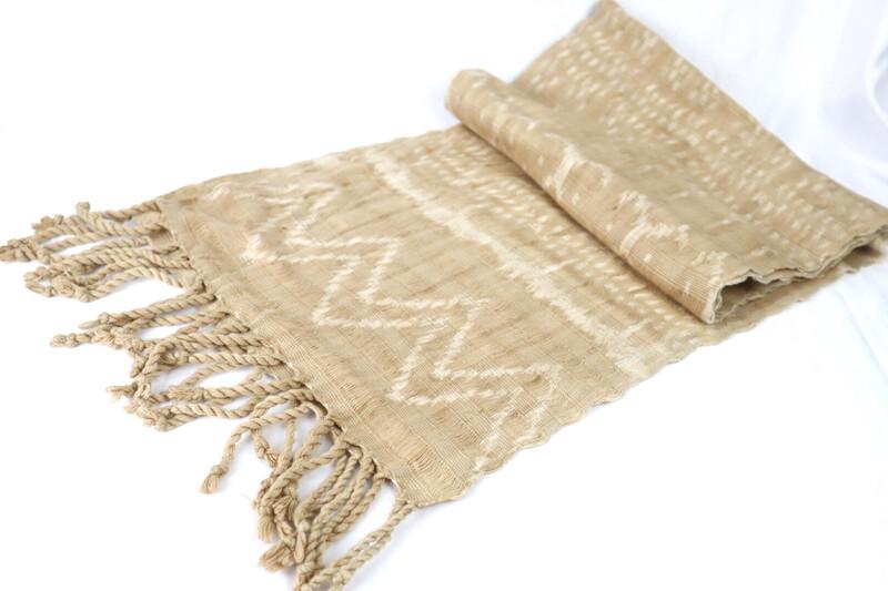 Handwoven Ikat Scarf - Cotton Tan