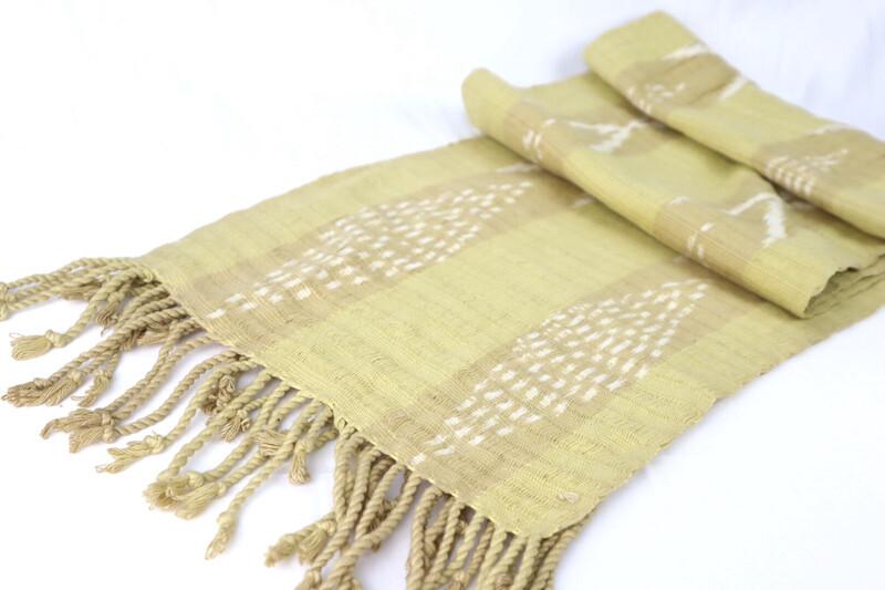 Handwoven Ikat Scarf - Cotton Mustard