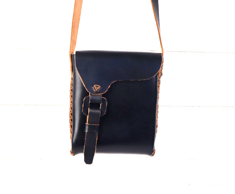 Tribal Leather Satchel - (Medium) BLACK