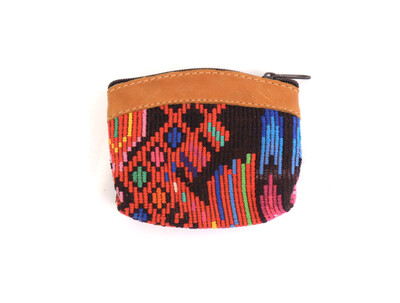 Mayan Coin Pouch - Leather Trim