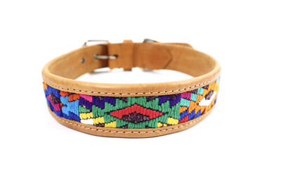Mayan Leather Dog Collar - LARGE