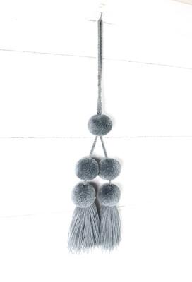 Pom Pom Charm Tassel - Light Gray