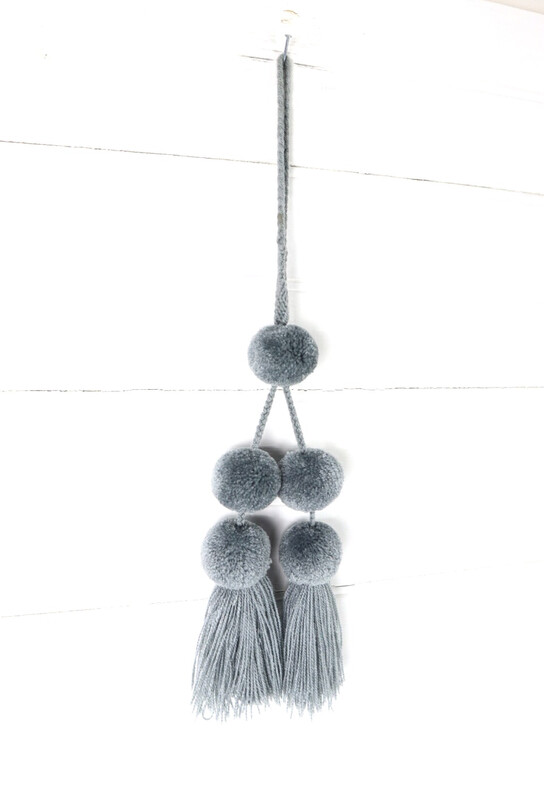 Pom Pom Charm Tassel - Light Gray