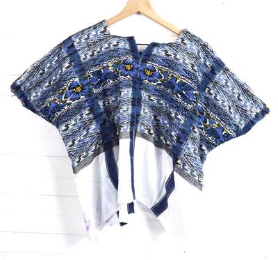 Huipil | Hand Woven Blouse | Vintage Top - Azul Tecpan (S/MEDIUM)
