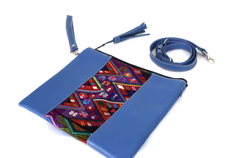 Artisan Leather + Huipil Cross Body Clutch - Large