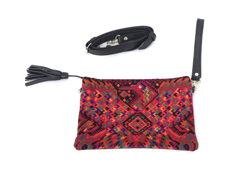 Leather + Huipil Cross Body Clutch - No. 210